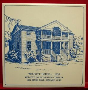 Hull Wolcott House Ceramic Tile 6 X 6 Maumee Ohio Log Cabin 1800s