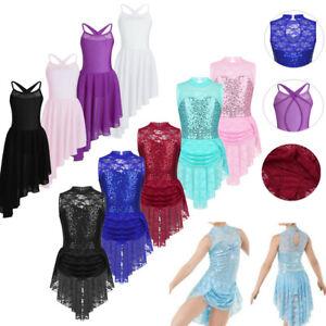 Kids-Girls-Asymmetric-Chiffon-Lyrical-Ballet-Dress-Dance-Leotard-Skirt-Costume