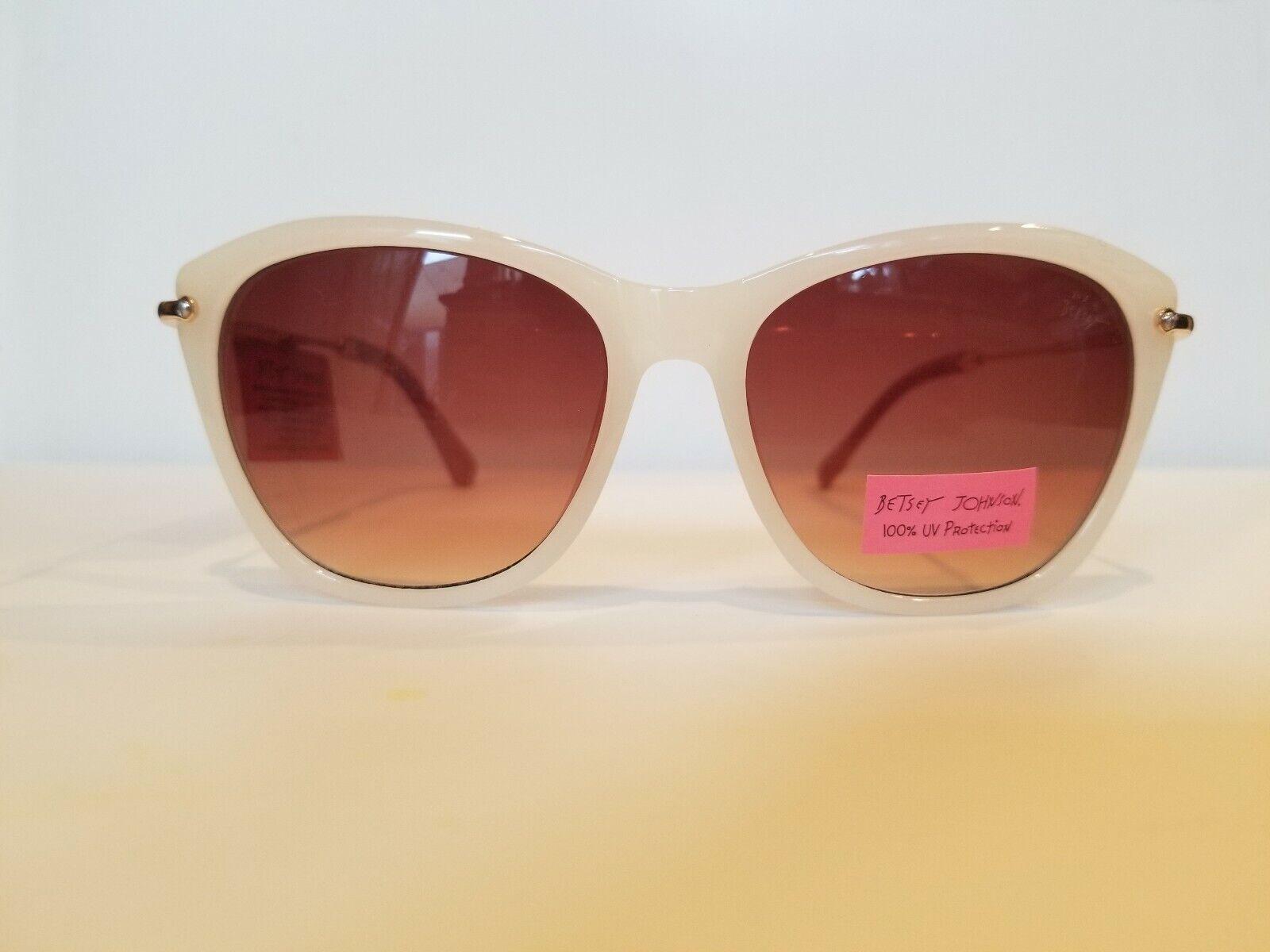 Nwt Betsey Johnson Cream Cateye Sunglasses Brown Lens