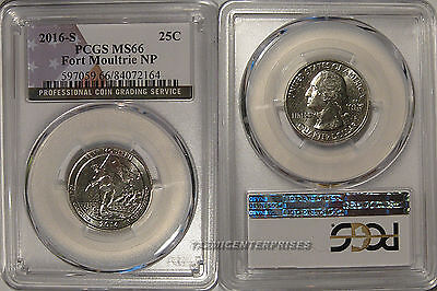 2016 S Fort Moultrie NP Quarter 25c PCGS MS66 USA Flag