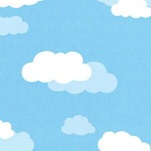 COTTON-NOCTILUCENCE-BEDDING-CRAFTS-CURTAIN-FABRIC-PICTORIAL-CLOUD-SKY-BLUE-44-039-W