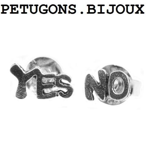 "Boucles d/'oreilles /""yes no/""argent massif 925°°° garanti SANS NICKEL"