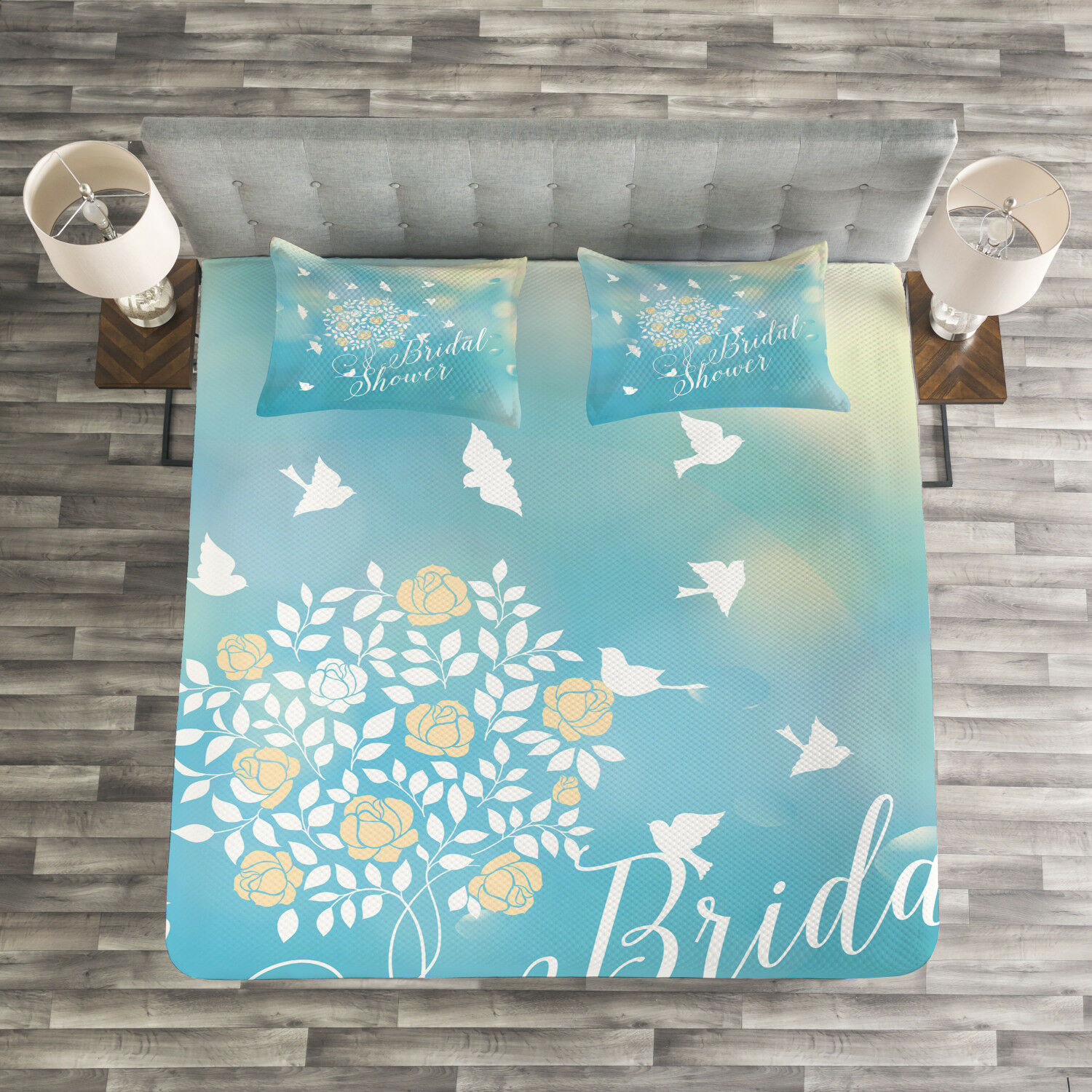 blu Quilted Bedspread & Pillow Shams Set, Clear Sky Flowers Print