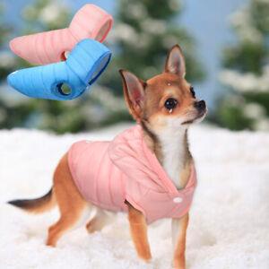Hundemantel-Winter-Hundejacke-Welpen-Hundebekleidung-fuer-kleine-Hunde-Rosa-Blau