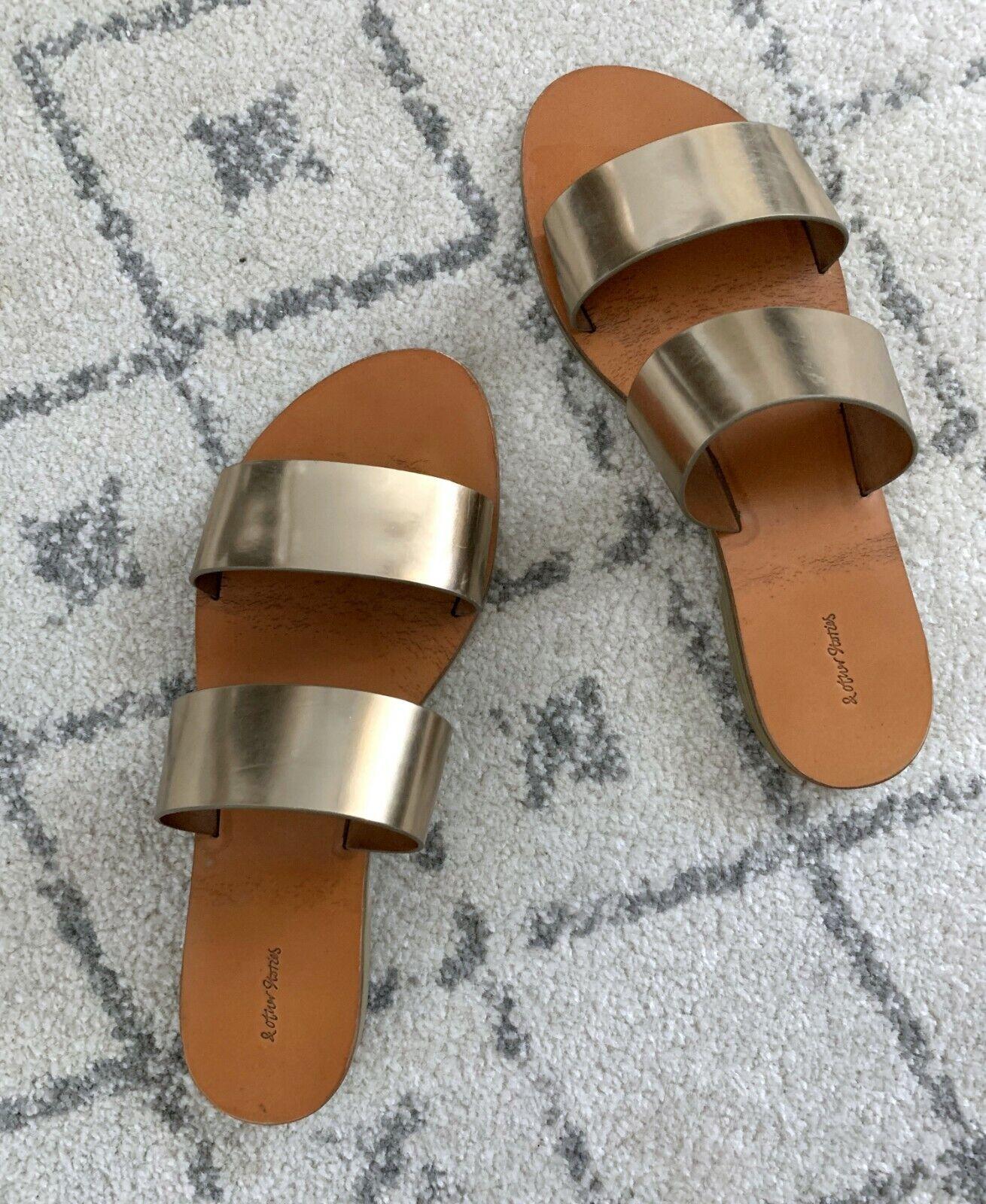 & OTHER STORIES deux bracelet en cuir Slip-on Gold Slide Sandales-Taille 39 (US 8.5)
