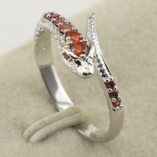Size 7 Fancy Vogue Jewelry Gift Red CZ White Gold Filled Snake Ring rj1512