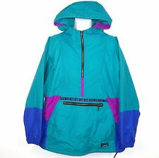 Vtg LL Bean Aztek Anorak 1/2 Zip Hood Pullover Jacket Mens Large XL USA Teal