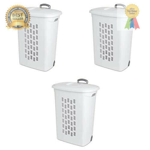 Sterilite Laundry Hampers with Lift-Top 12228003 Wheels 3-Pack /& Pull Handle