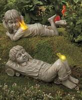 Solar Daydreaming Nostalgic Boy Girl Kid Garden Figure Statue