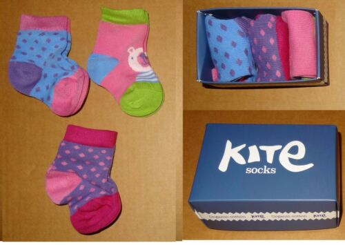 Kite Kids  Baby Girls and Boys Socks Size  0-24 months 3 pairs in new gift box