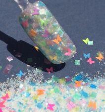 glitter mix nail art acrylic gel    BUTTERFLIES GALORE - UV reactive!!!!