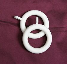 50 X White Plastic Curtain Rings for up to 25mm Poles