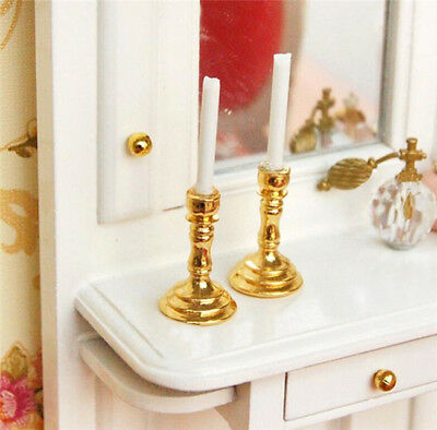 Gold Mini Candlesticks White Candles Doll House Miniature Decor 1Pair 1:12 P2S2