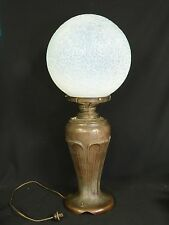 RARE ANTIQUE SIGNED BRONZE HANDEL VASE ELECTRIFIED LAMP with OPALINE SHADE