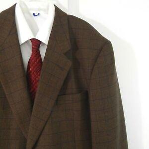 brown JHANE BARNES jacket blazer sport coat windowpane plaid 2 button 42 42L