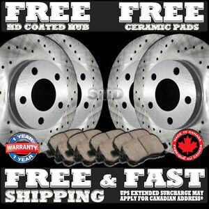 P0480 FRONT REAR PERFORMANCE CROSS DRILLED BRAKE ROTORS AND CERAMIC PADS