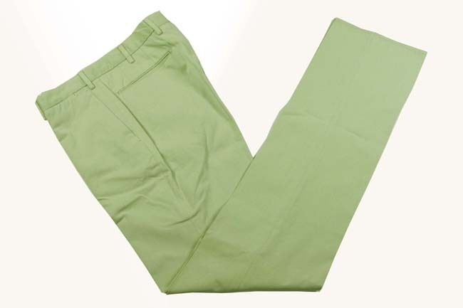 Incotex Trousers  32 Muted seafoam green, flat front slim fit, pure cotton