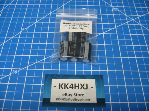 5 Pieces Electrolytic Capacitors 2200uF 50v Radial