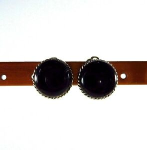 Created-Black-Onyx-925-Sterling-Silver-Clip-on-Earrings