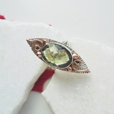 Grüner  Amethyst, teilvergoldet, Kupfer, Ring, Ø 16,5 mm, 925 Sterling Silber