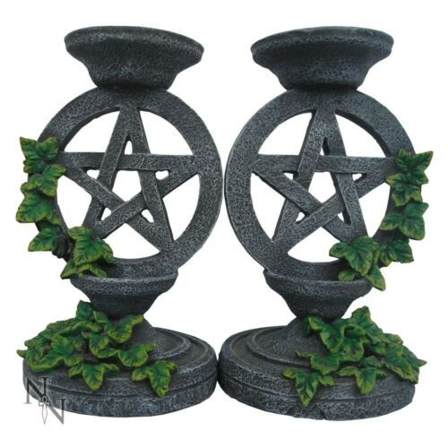 PAIR OF PENTAGRAM IVY CANDLESTICKS AGED EFFECT CANDLE HOLDER NEW /& BOXED