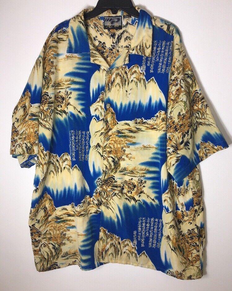 MENS 3XL SHIRT HAWAIIAN BUTTON UP FRONT bluee Yellow gold