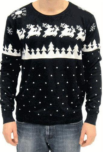 Adult Navy Blau Ugly Christmas Sweater Humping Reindeer & Snow Flakes Sweatshirt