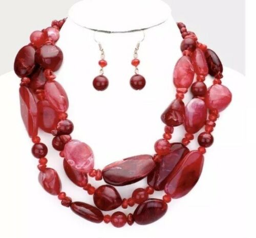 Red Beaded Pearl Multi Layered Strand Statement Chunky Jewelry Necklace Set