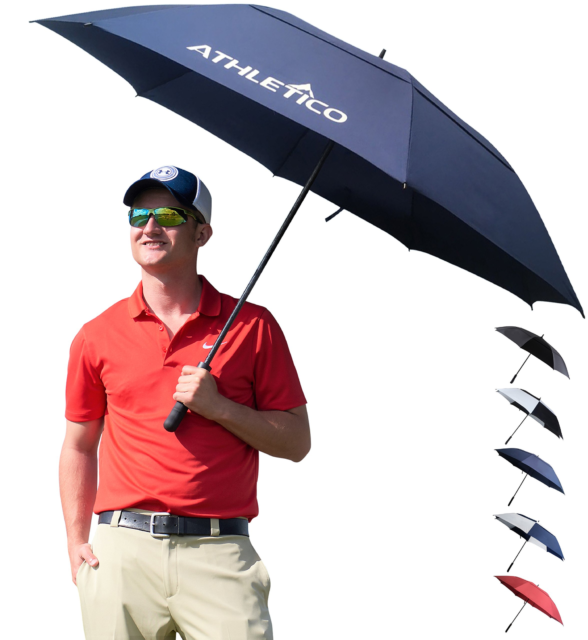 7d84ffe9f40d Athletico 68 Inch Automatic Open Golf Umbrella - Extra Large Double Canopy  Um...