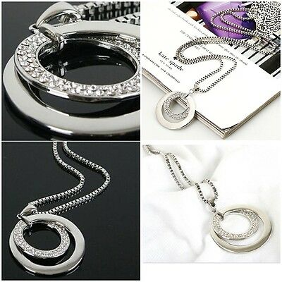 One PC Women's Hot Sell Rhinestone Clear Silver Long Chain Pendant Necklace Gift