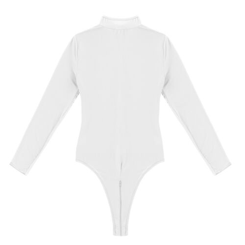 Women Long Sleeve Sheer  Mesh Bodysuit  Zipper High Cut Thongs Leotard Lingerie