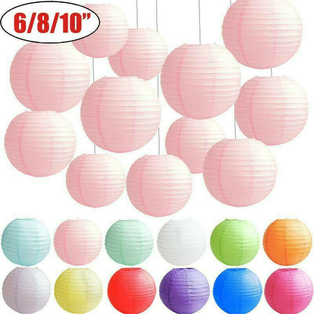 Pink+Silver+White New Round Paper Lanterns Lamp Shade Wedding Party
