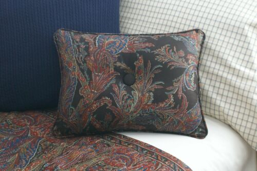 NEW Custom Ralph Lauren Bedford Hunt Paisley Accent Pillow Button