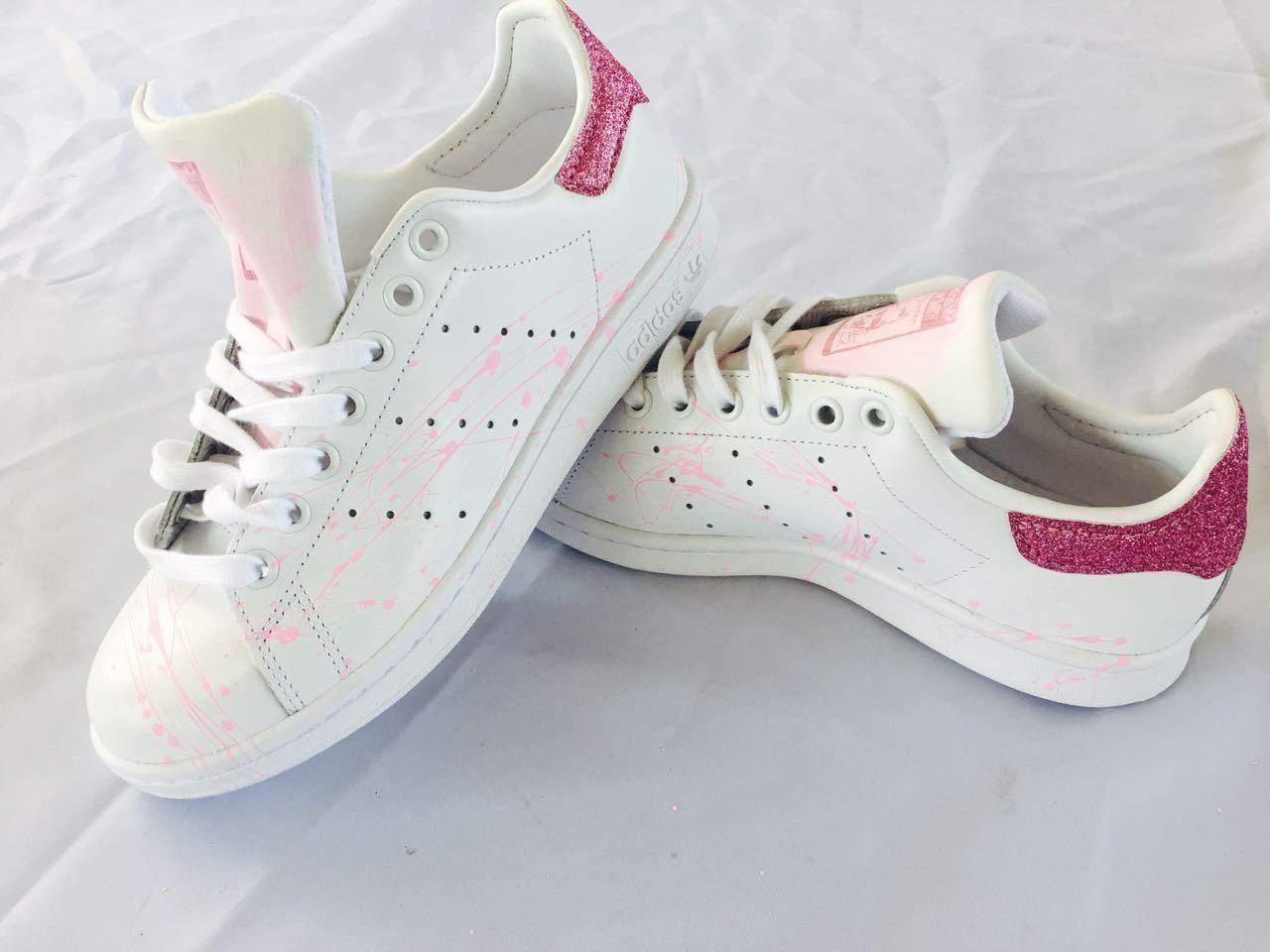 scarpe adidas stan smith  con glitter glitter glitter e sporcatura rosa 4f7478