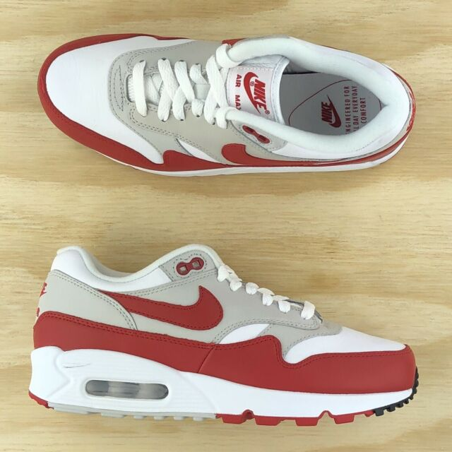 info for e1f76 14f12 Nike Air Max 90/1 OG Womens White University Red Running Shoes AQ1273-100  Size