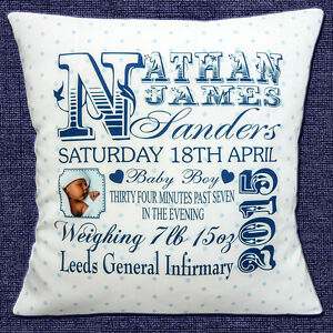 PERSONALISED-BIRTH-ANNOUNCE-Name-Date-Time-Weight-PHOTO-16-034-Pillow-Cushion-Cover