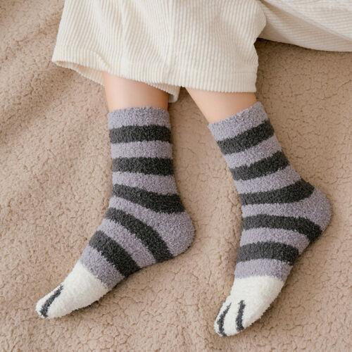 Winter Women Plush Cat Claws Coral Fleece Socks Floor Sleep Socks Soft 1Pair