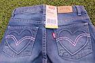 Levis Girl size 6 7 114-122cm Sparkle Love Heart slim denim jeans pants pink