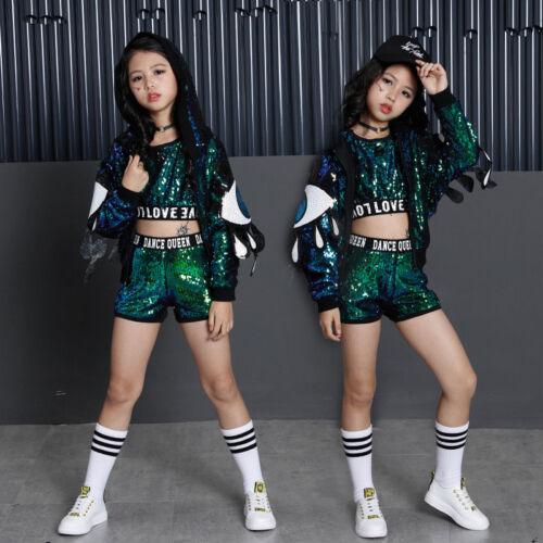Street Dance Wear Costume Girls Performance Sequins Modern Kids Hip Hop Clothes