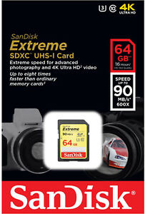 SanDisk Extreme 64GB SDXC 90 MB/S 600x UHS-1 SD Class 10 Memory Card U3 Camera 689296240637