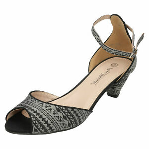 Anne-Michelle-F1R0588-Ladies-Grey-Patterned-Peep-Roe-Sandals-R33A