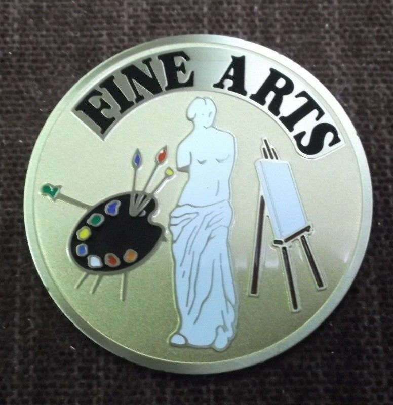 Lot of 47 FINE ARTS full Couleur etched enameled brass insert trophy parts 2  dia