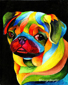 PARTY-PUG-8X10-DOG-Colorful-Print-from-Artist-Sherry-Shipley