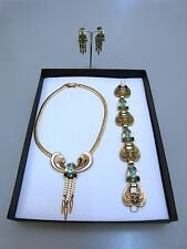 CORO NEW YORK DESIGNER VINTAGE SET 1948 VERGOLDET STRAß ANTIK JEWELRY