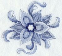 Delft Blue Christmas Poinsettia Holiday 8 Machine Embroidered Quilt Block (hp)