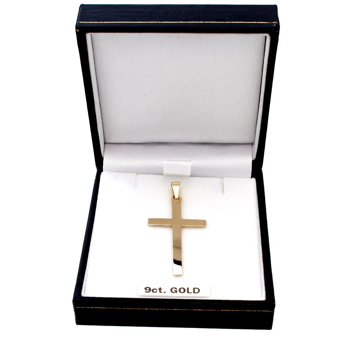 Grandi oro 9 carati carati carati CROCE PENDENTE COLLANA CON SCATOLA REGALO 70dae3