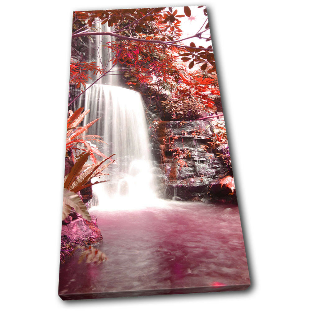 Waterfall Forest rouge Landscapes SINGLE TOILE murale ART Photo Print