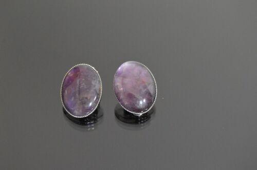 Lujo orejas aretes clips clip naturaleza Edelstein piedra oval lapis lazuli