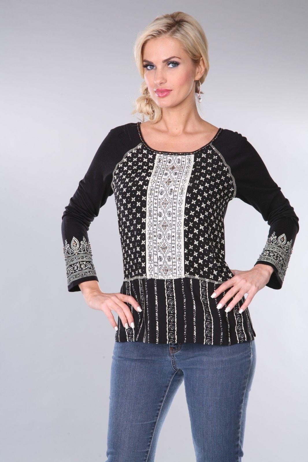 Woherren Blouse Top schwarz Cream Krista Lee Petra Group Embroiderot Beaded SMALL