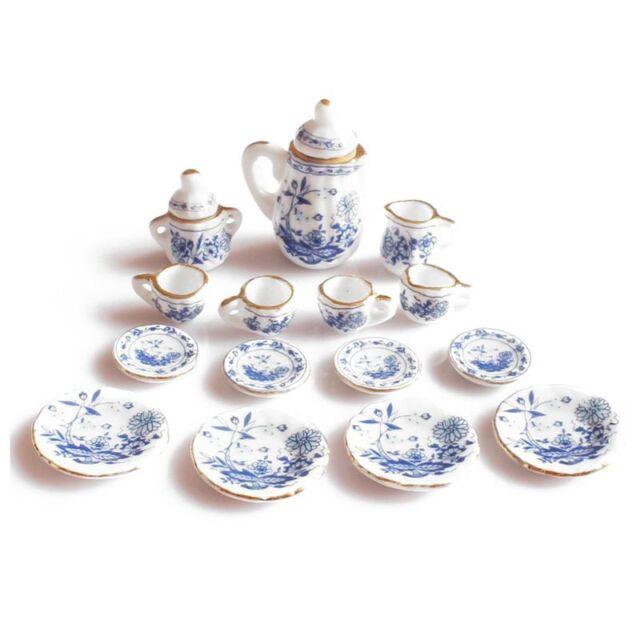 1/12th Dining Ware China Ceramic Tea Set Dolls House Miniatures Blue Flower Q7H1